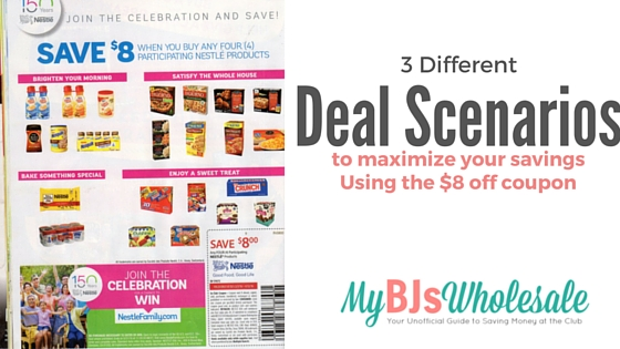 deal scenario for $8 nestle coupon at bjs