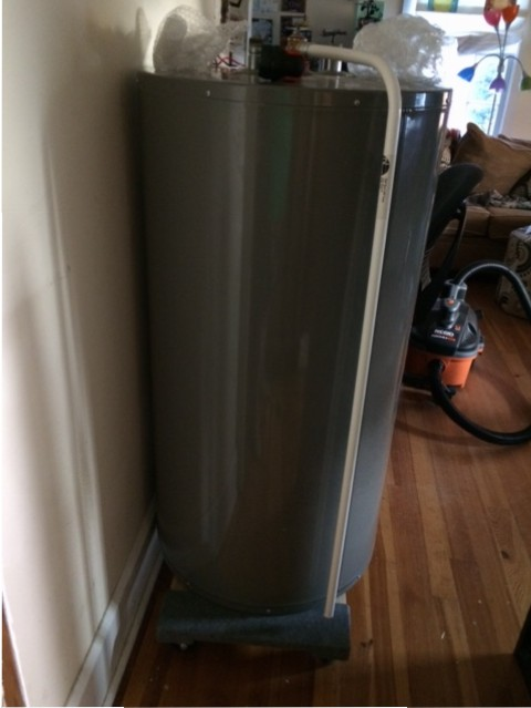 water heater on cart