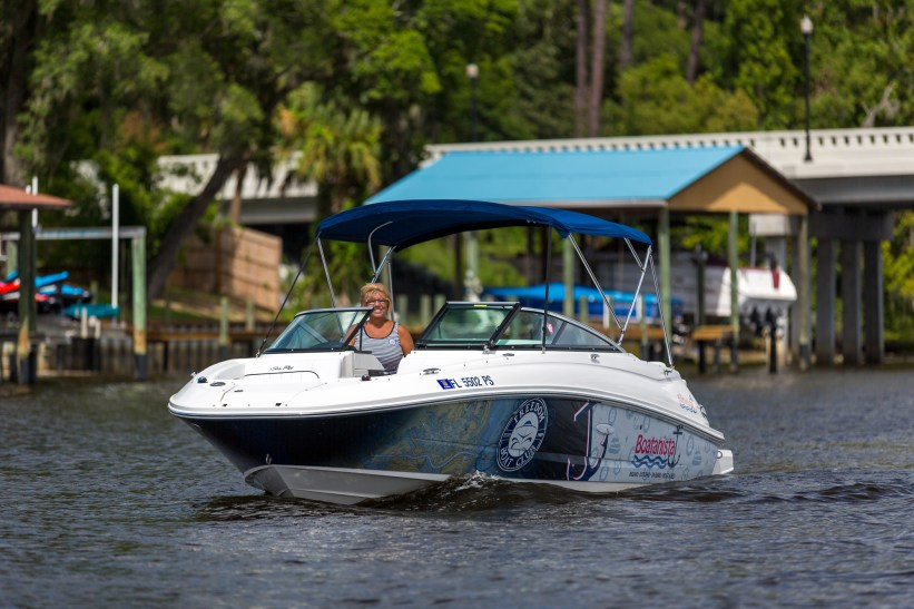 woman cruising boat