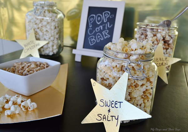 black and gold popcorn bar