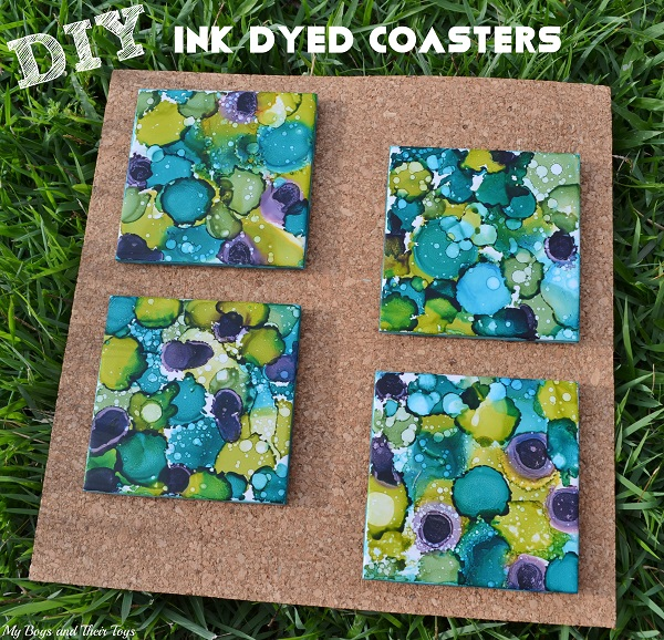 coaster craft ideas diy ink dyed coasters my boys and their toys 1333