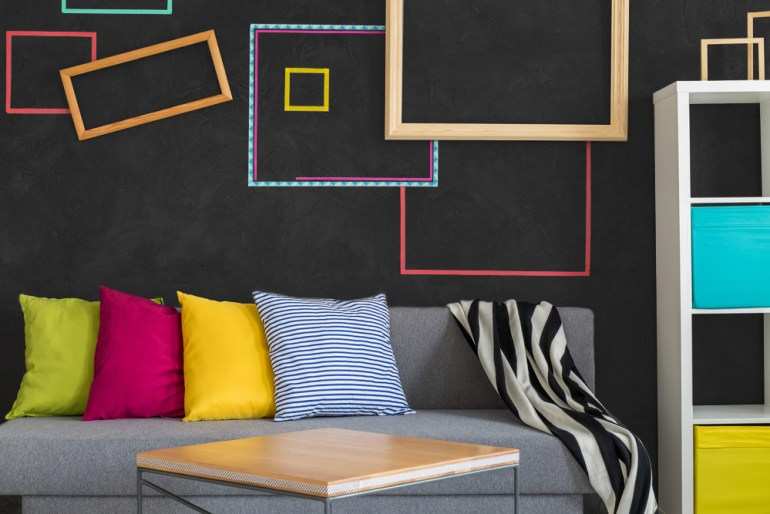 Black interior with colorful furnishings