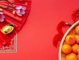 A flat lay of items for the Chinese new year