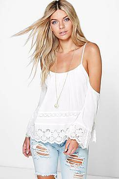 Lucy Cold Shoulder Embroidery Top