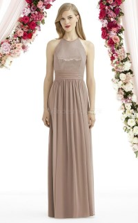 A Line Halter Light Brown Chiffon Long Bridesmaid Dresses ...