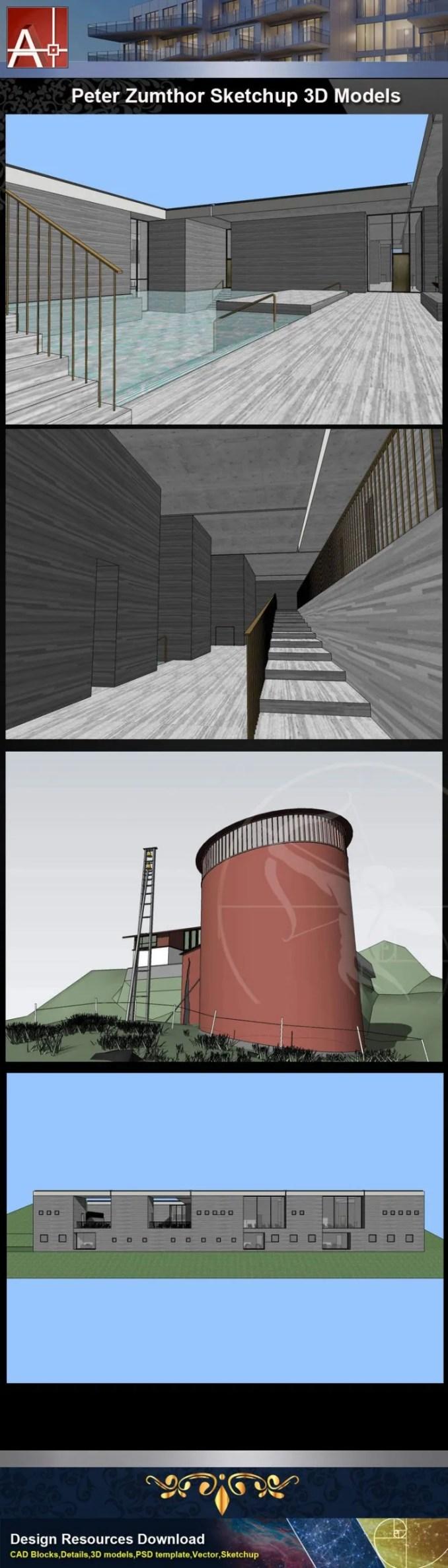 【建築大師Sketchup Models-Peter Zumthor 彼得·卒姆托精選4件建築3D模型】