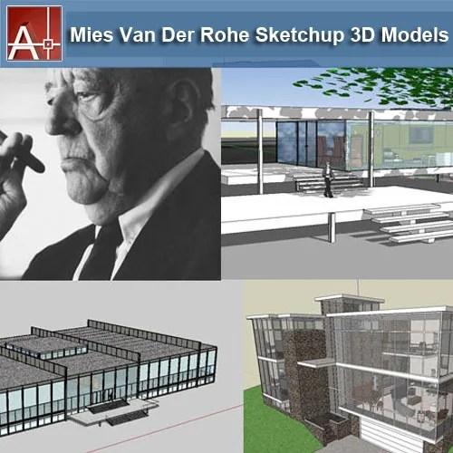 【建築大師Sketchup Models-Mies Van Der Rohe 路德維希·密斯·凡德羅 精選17件建築3D模型】