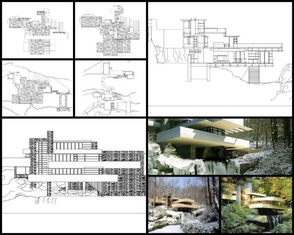 【世界知名建築案例研究CAD設計施工圖】流水別墅-Frank Lloyd Wright法蘭克·洛伊·萊特