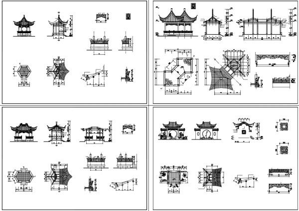 亭子 ,傳統樣式亭子、硬山頂、懸山頂、歇山頂、廡殿頂、攢間頂、卷棚頂,中國風古典設計,中式元素及精選案例,臺基,柱礎,鋪面,欄杆,屋身,斗栱,屋頂,門與窗,隔斷,天花與藻井,裝飾,中國景觀庭園元素,窗戶設計,門設計,梁、柱、檁、椽、枋,中國風牆面樣式,剖立面設計圖
