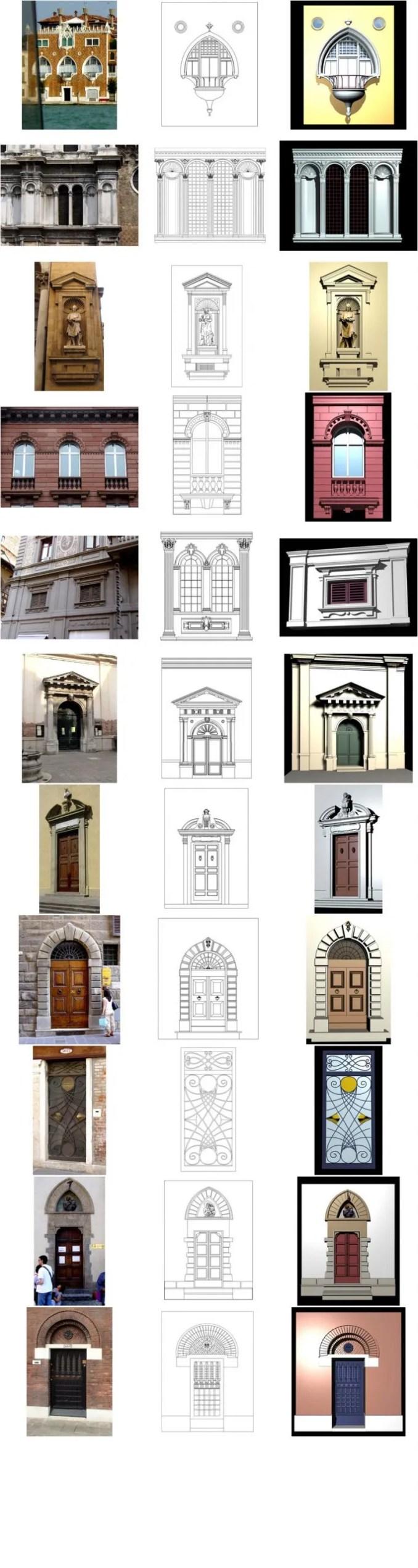 【歐式建築門窗CAD細部大樣圖】意大利建築·裝飾門窗CAD圖庫 Italian architecture