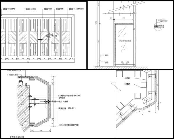 【各類CAD Details細部大樣圖庫】不銹鋼乾掛大理石門套CAD大樣圖