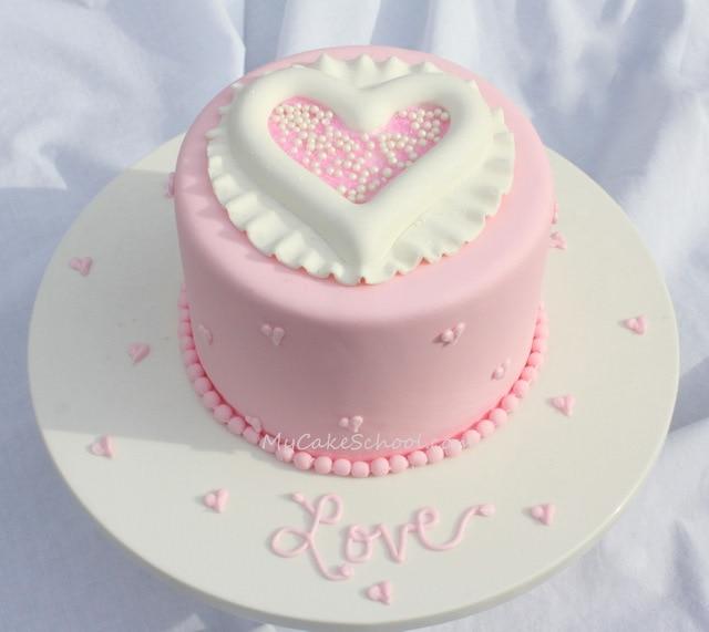Raised Heart Cake Tutorial by My Cake School  My Cake School