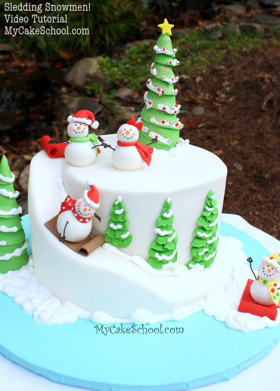 Sledding Snowman A Carved Cake Video Tutorial  My Cake