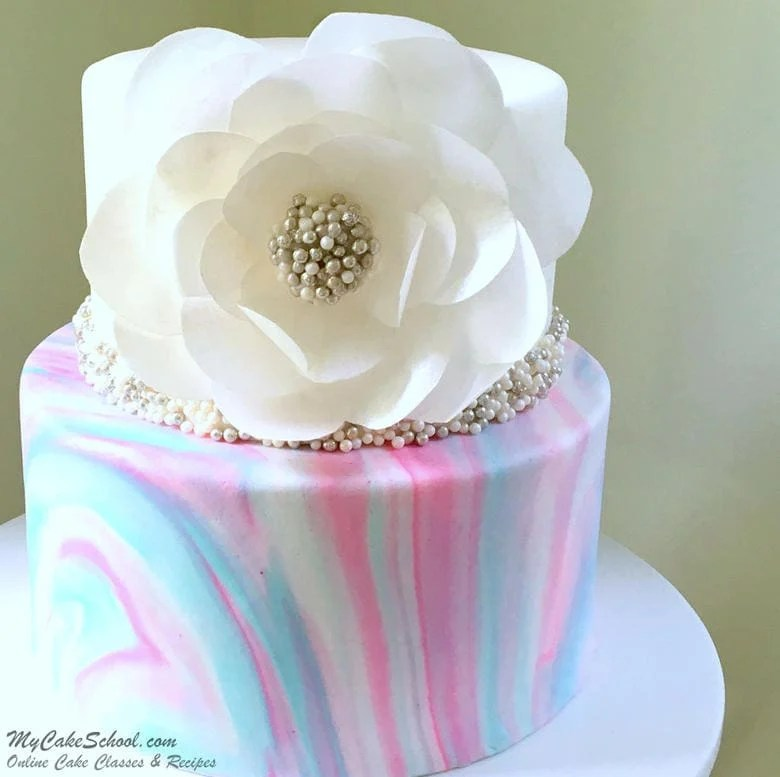 Marbled Fondant with Wafer Paper Flower  My Cake School