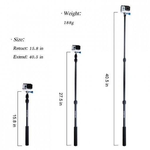 SmaPole S1 All-aluminum Alloy Handheld Telescopic Pole (15.8″to 40.5″) Integrated with Tripod Mount/Nut for GoPro Hero