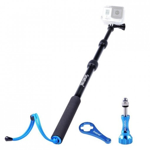 SmaPole S1 All-aluminum Alloy Handheld Telescopic Pole (15.8″to 40.5″) Integrated with Tripod Mount/Nut for GoPro Hero sjcam