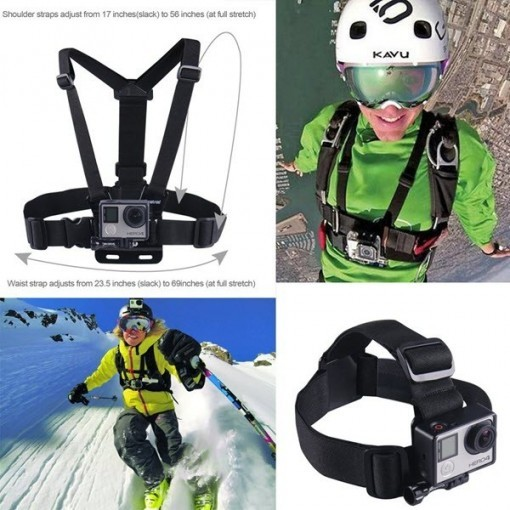 Adjustable Head Strap Mount + Chest Harness Belt Strap + Aluminum Thumbscrew + J-Hook for Gopro , sjcam , SJ4000 SJ5000