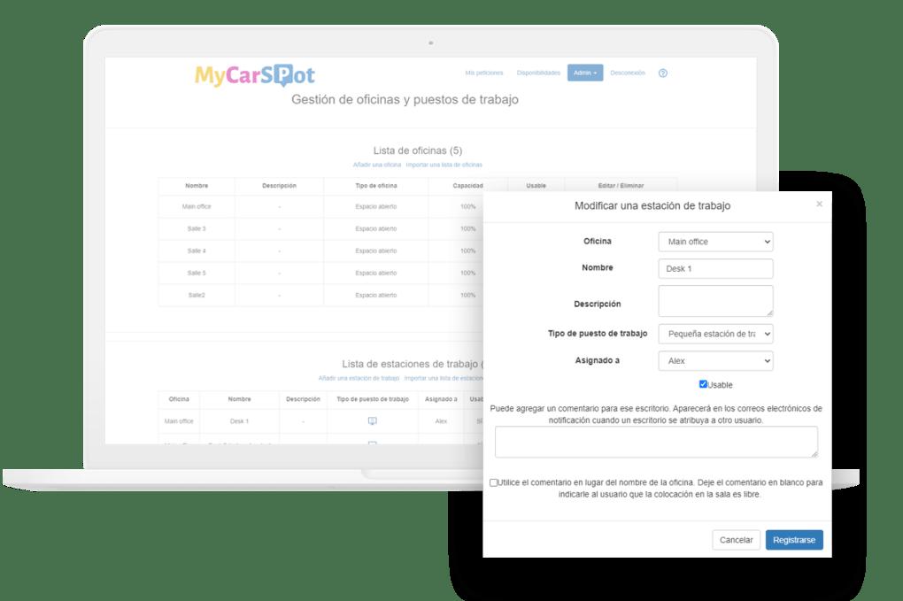 Gestion puestos de trabajo en empresa con MyCarSpot - Espacios