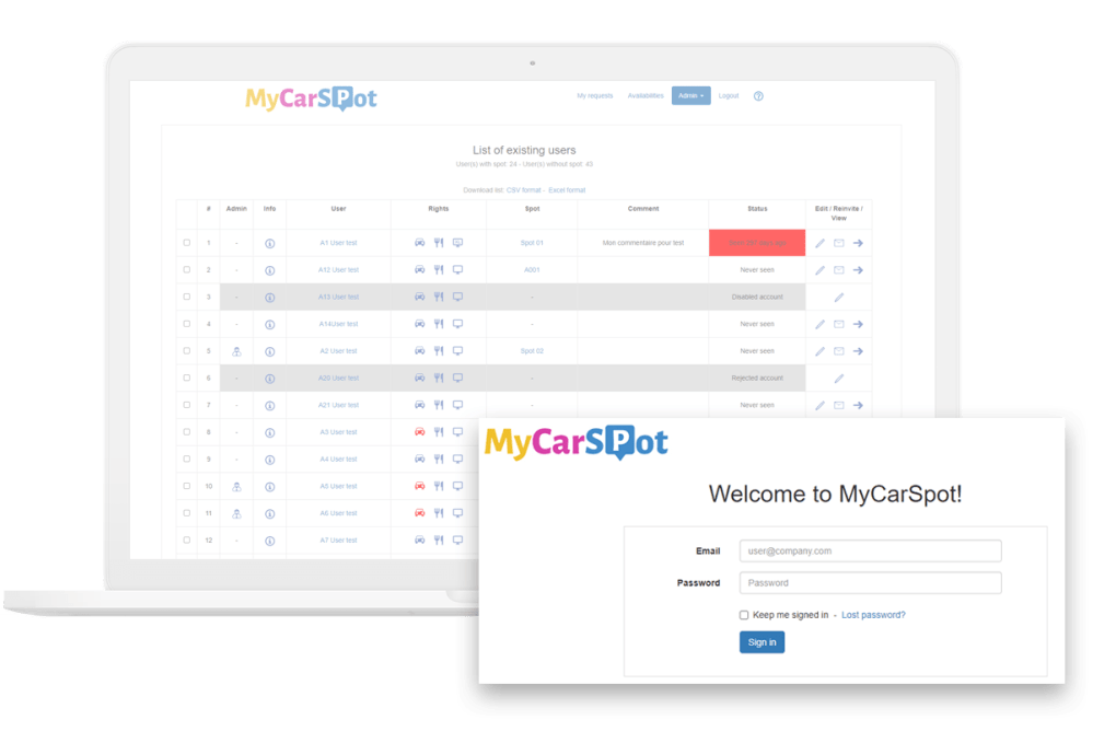 Users - Cafeteria management MyCarSpot