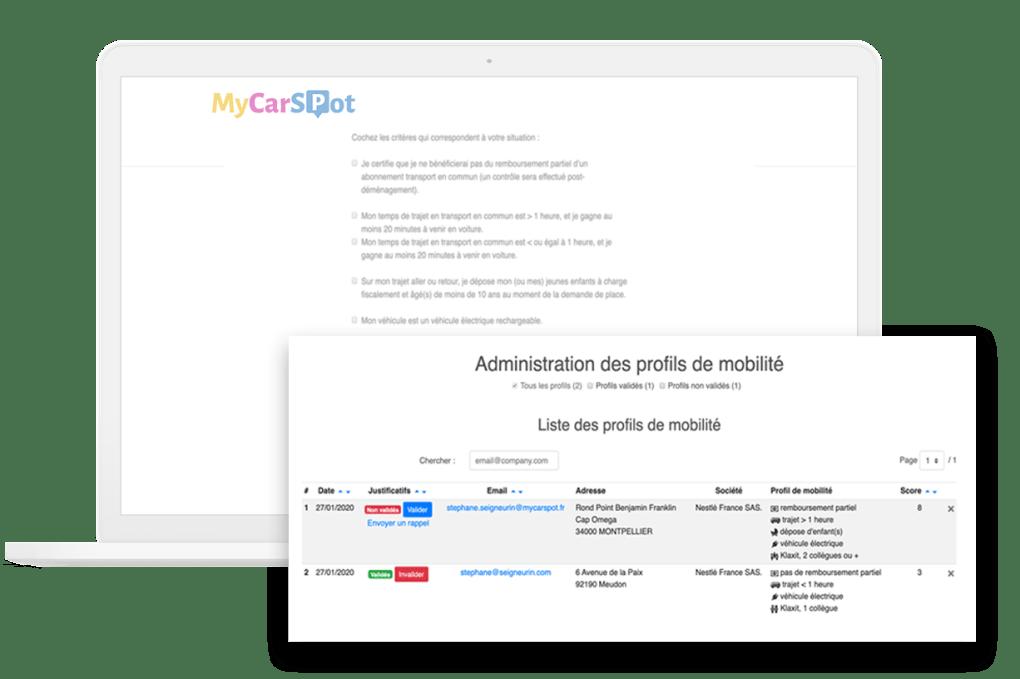 Questionnaire mobilité - Gestion parking entreprise avec MyCarSpot