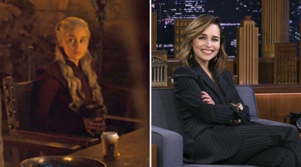 Emilia Clarke revives the Game of Thrones coffee cup mystery but throws a new suspect under the bus