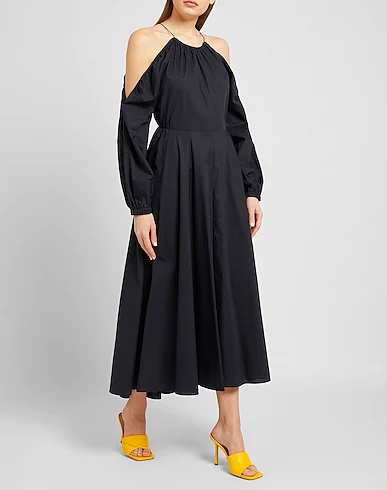 My Celebrity Life – 8 by YOOX Cotton OffShoulder Puff Sleeve Midi Dress
