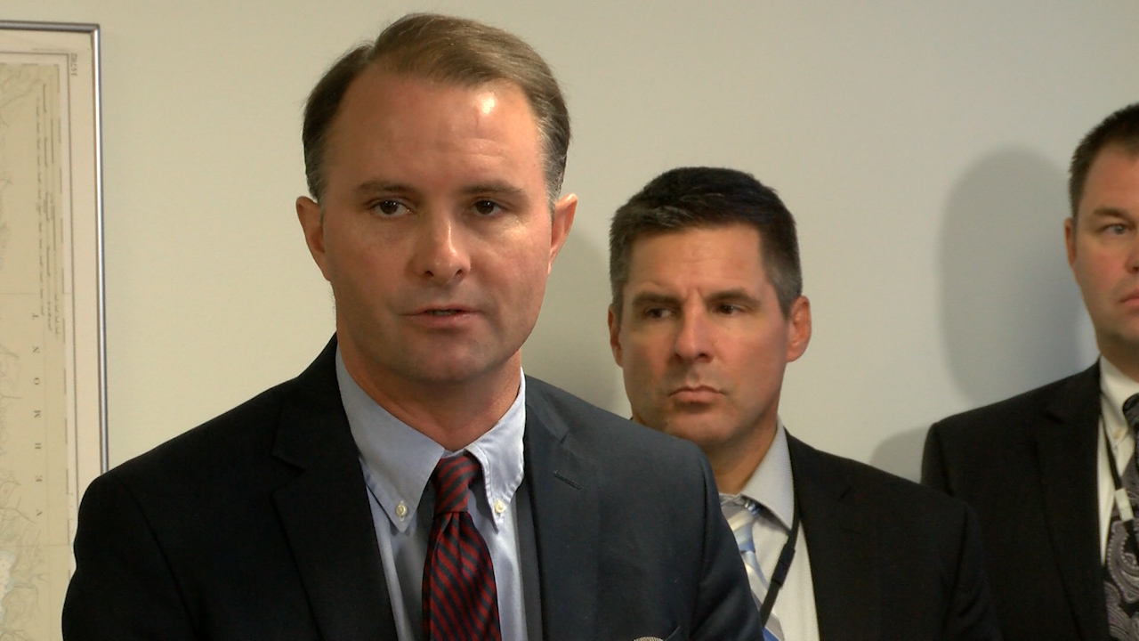 Chittenden County State's Attorney TJ Donovan addresses reporters