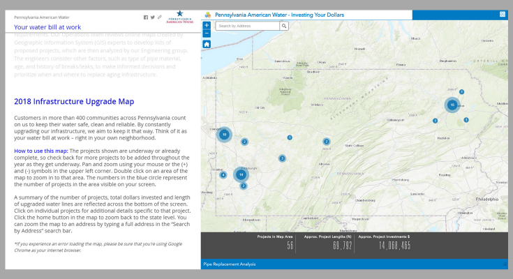 Pennsylvania American Water Unveils Interactive Map to Spotlight Pipeline Projects