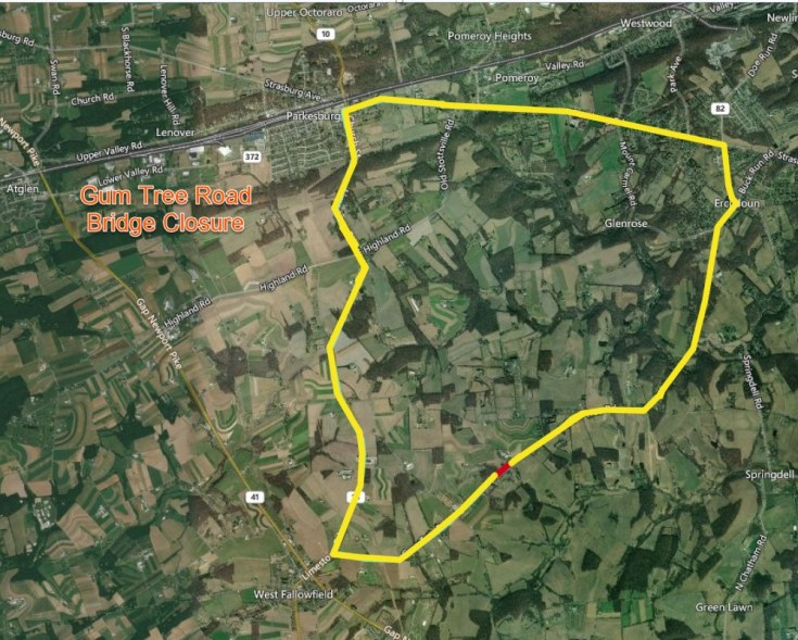 PennDOT to Rehabilitate the Bridge Carrying Gum Tree Road over Doe Run in Highland Township