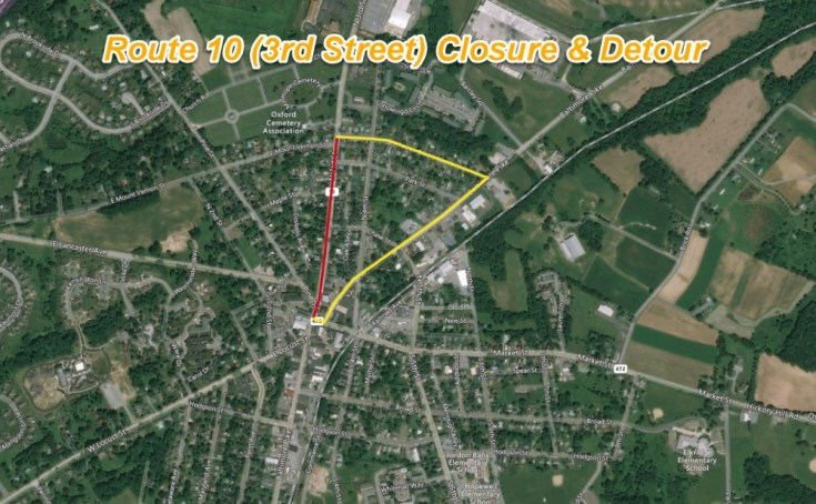Route 10 (3rd Street) to Close Next Week for Base Repair in Oxford Borough