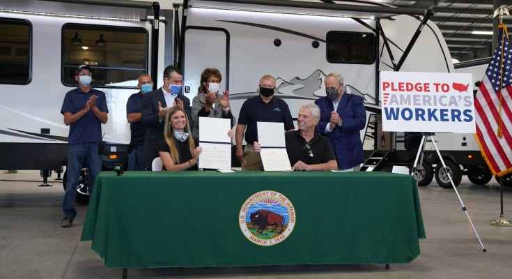 Secretary Bernhardt Highlights Outdoor Recreation and RV Manufacturers Signing the Pledge to America's Workers