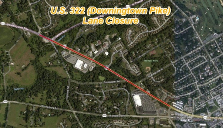 U.S. 322 (Downingtown Pike) Reduced to Single Lane Next Week for Maintenance Activities in Chester County