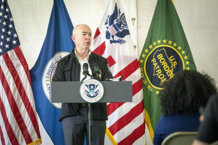 Secretary of Homeland Security Alejandro N. Mayorkas leads Congressional delegation to the U.S. Customs and Border Protection Donna Processing Facility on May 7, 2021.