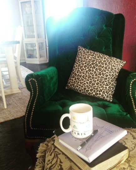 velvet green chair