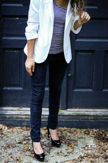how to wear a white blazer. white blazer and stripes