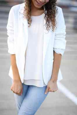how to wear a white blazer. white blazer outfit ideas. white on white