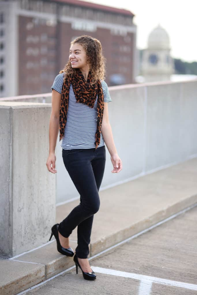 striped shirt and leopard print scarf