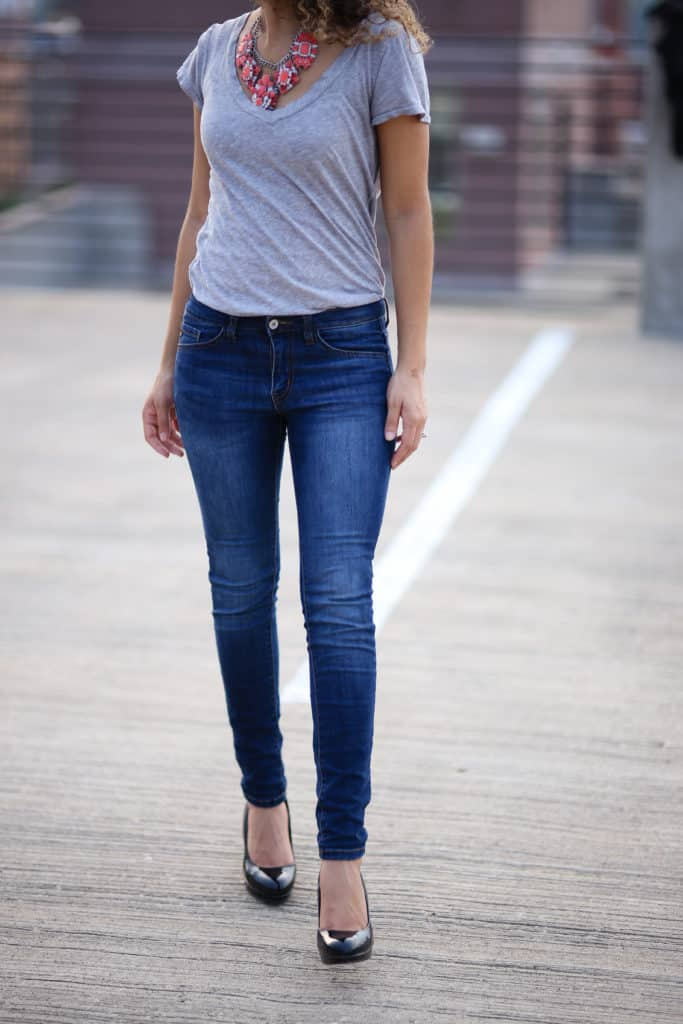 casual tee and statement necklace