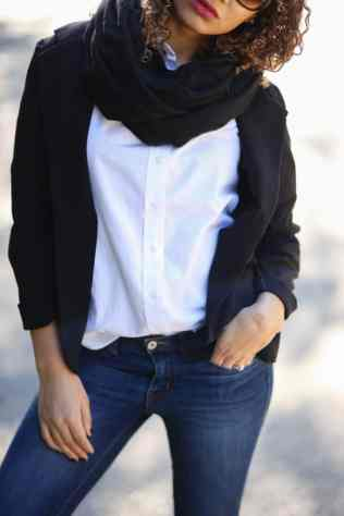 scarf and black blazer