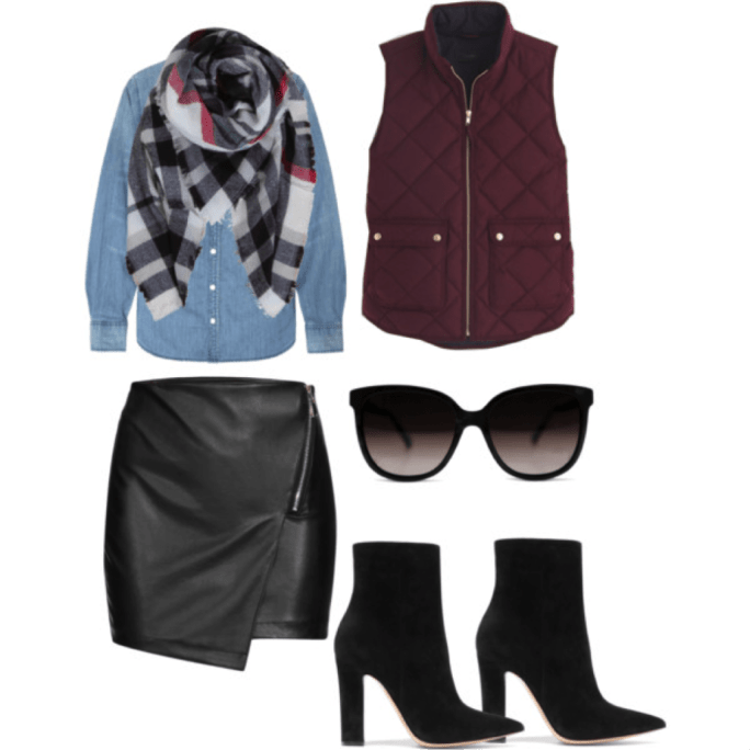 leather skirt and vest outfit