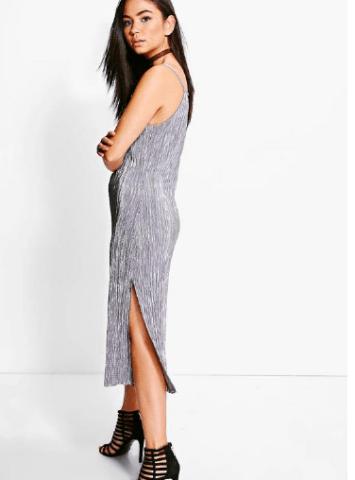silver metallic dress