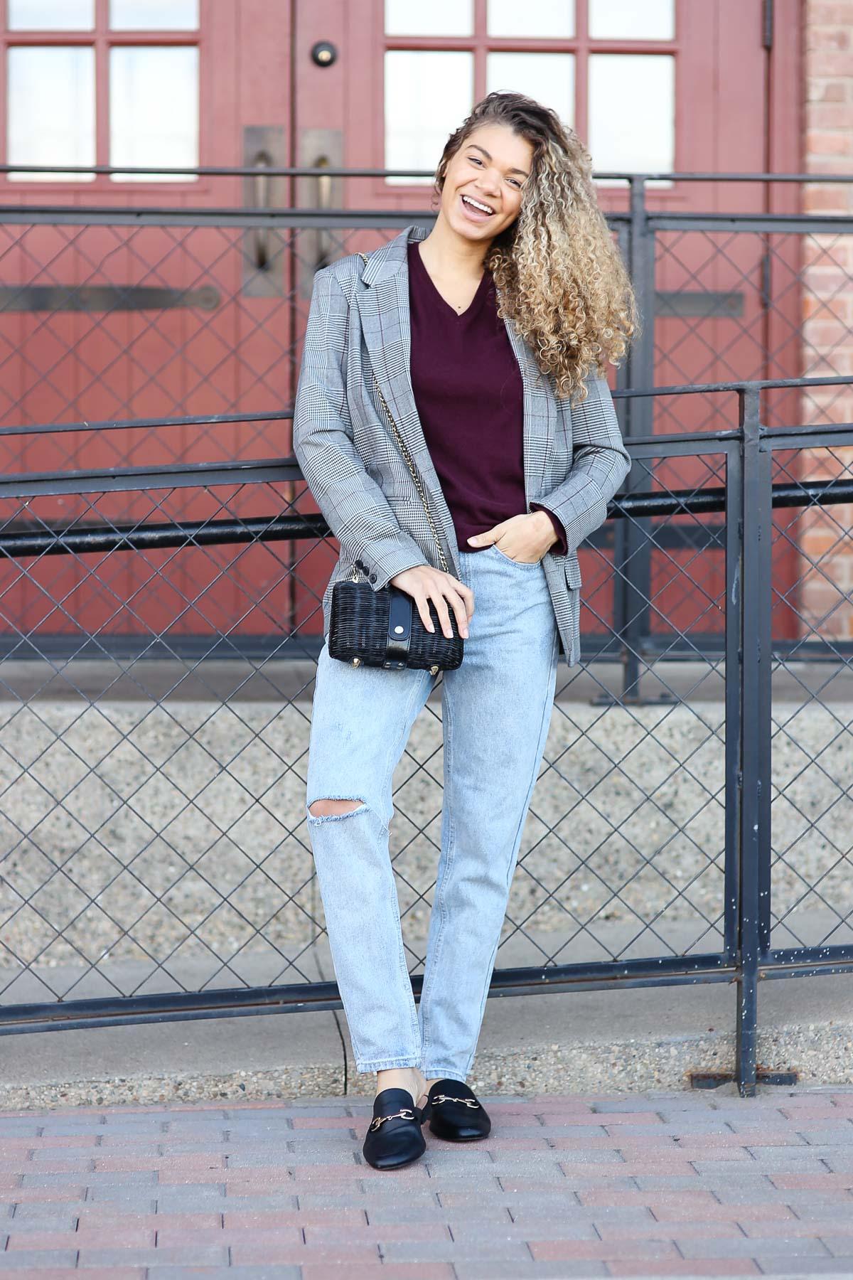 check blazer outfit