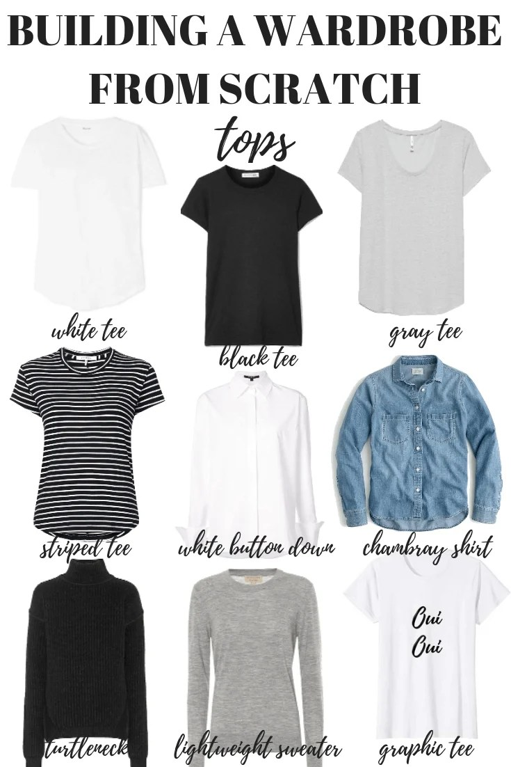 Here's how to build a wardrobe from scratch starting with your tops. Your capsule minimalist wardrobe is just one step away!