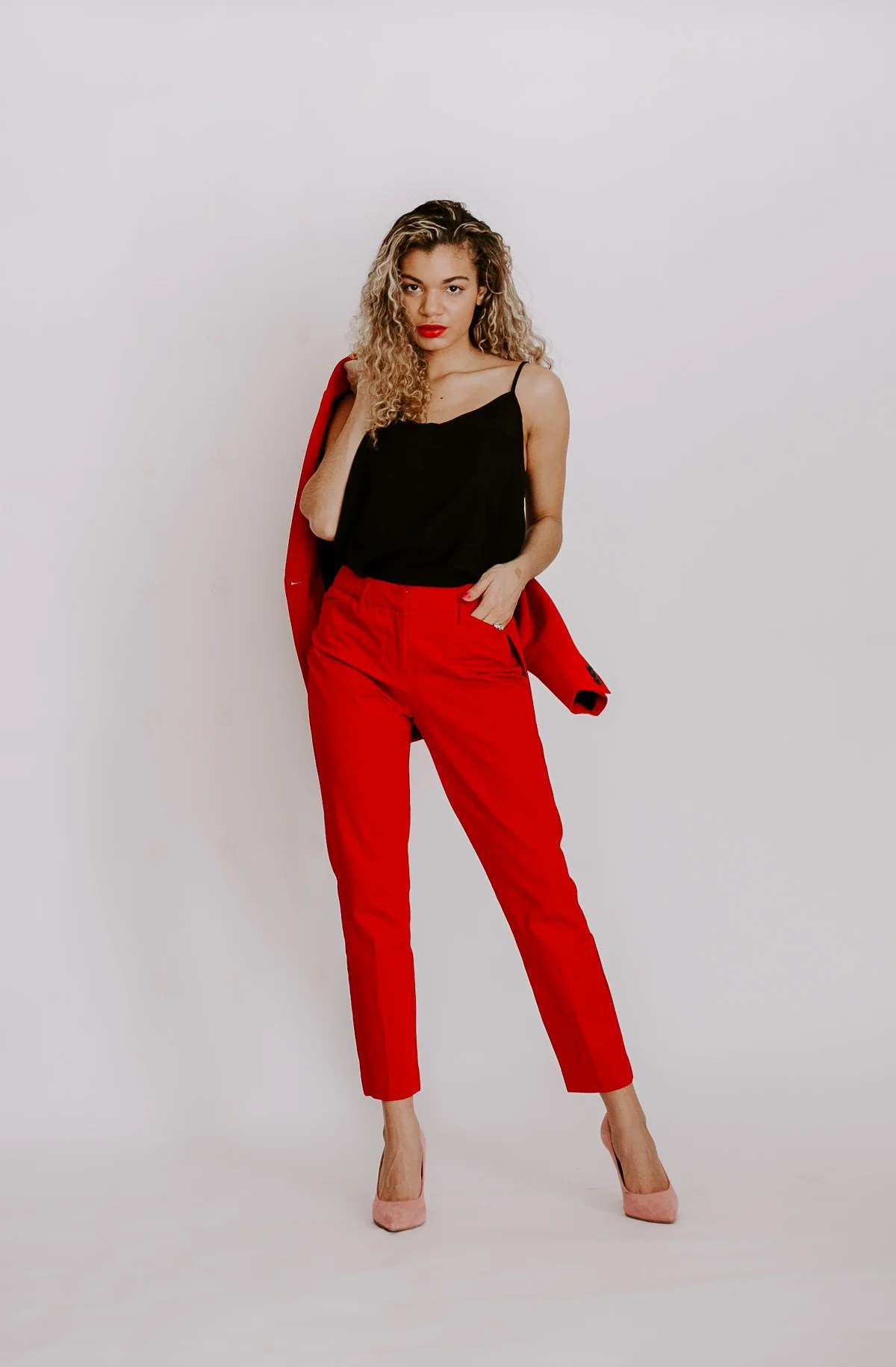 Red and pink outfits that are perfect for Valentine's Day or wearing them for spring. These colors together are great spring outfit ideas too! This red suit set is also trending.