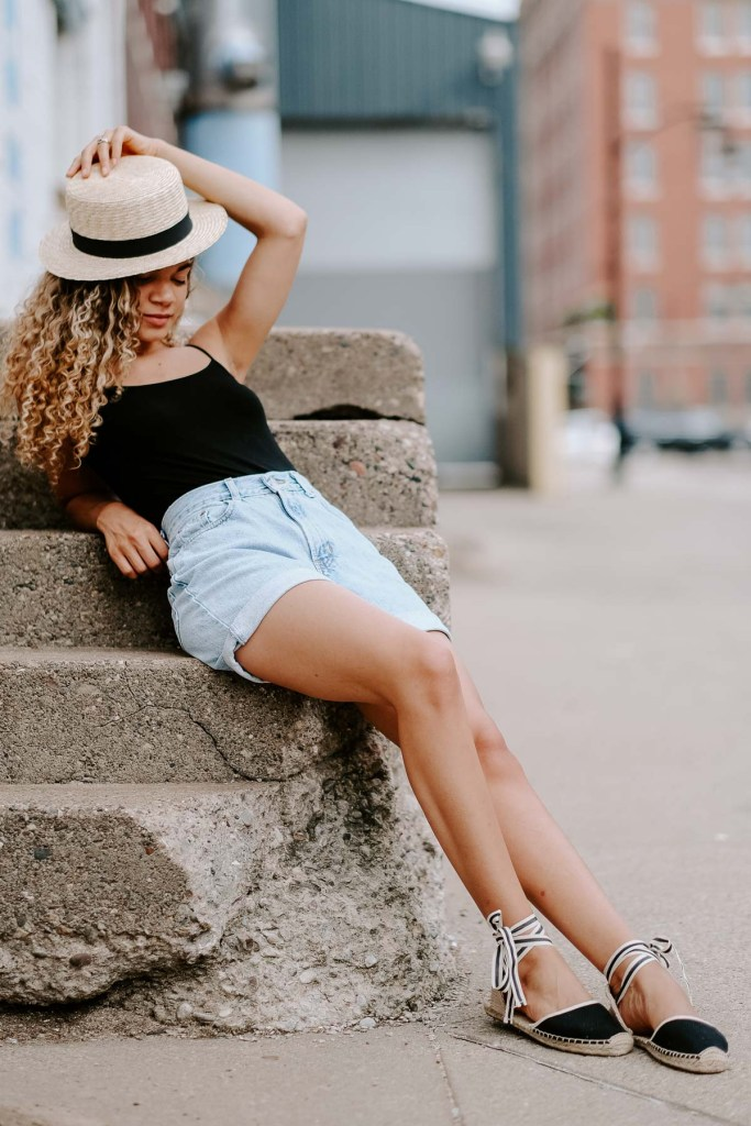 denim shorts summer outfit with a bodysuit