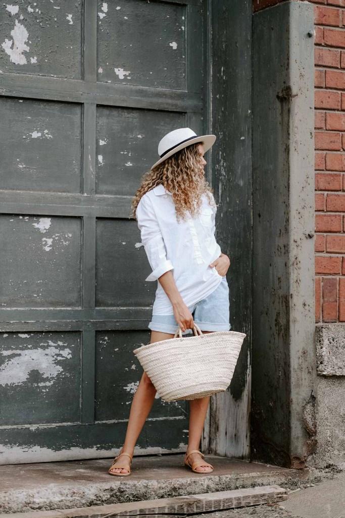 denim shorts and white button down summer outfit