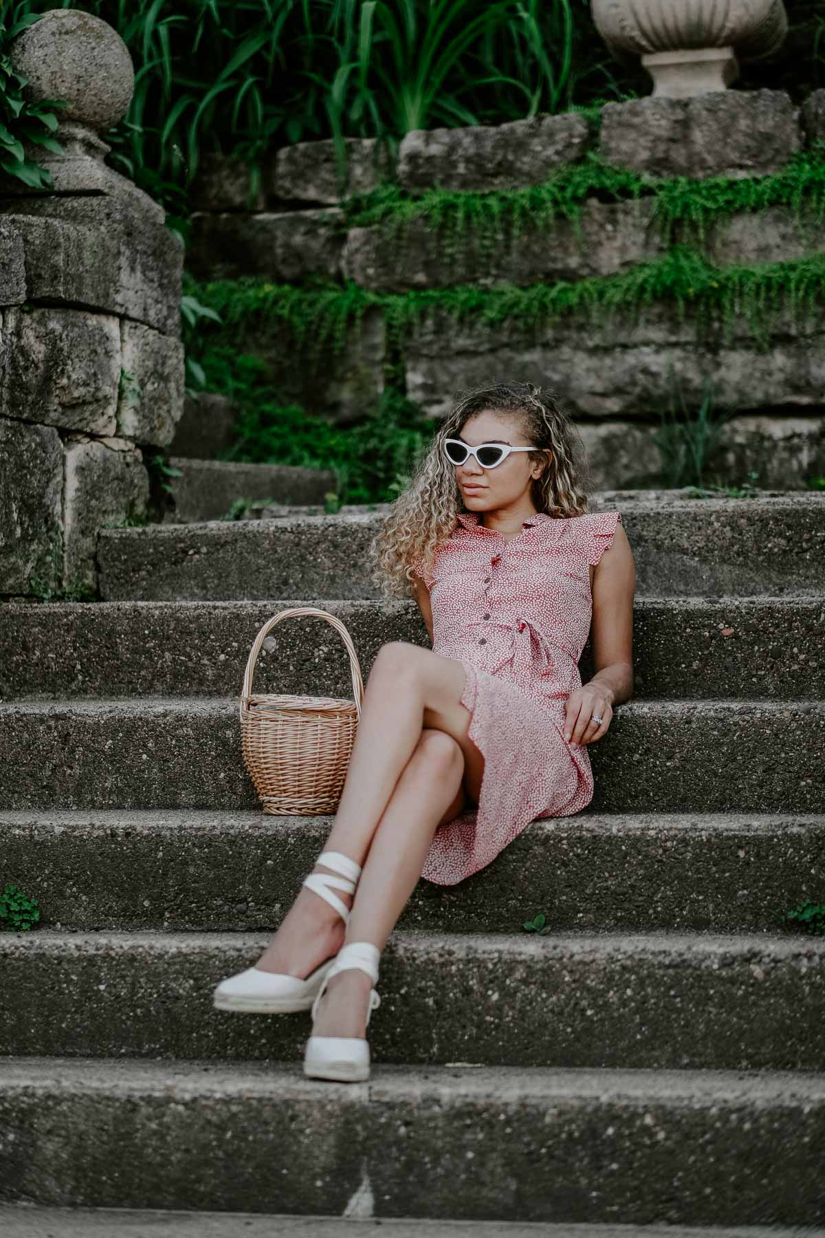 printed dress and espadrilles summer outfit