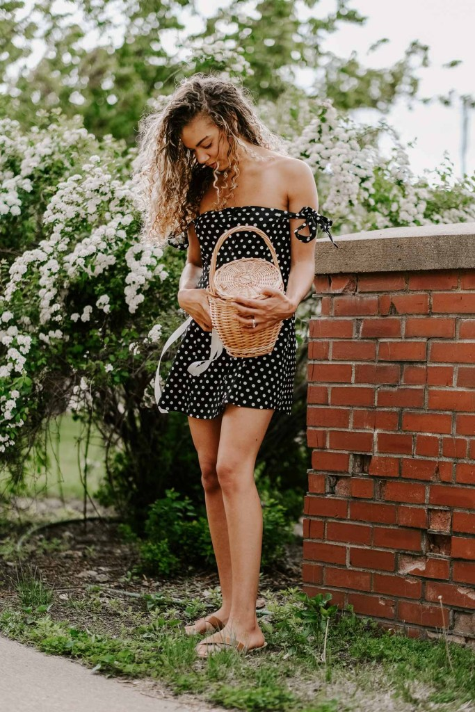 black and white polka dot summer dress