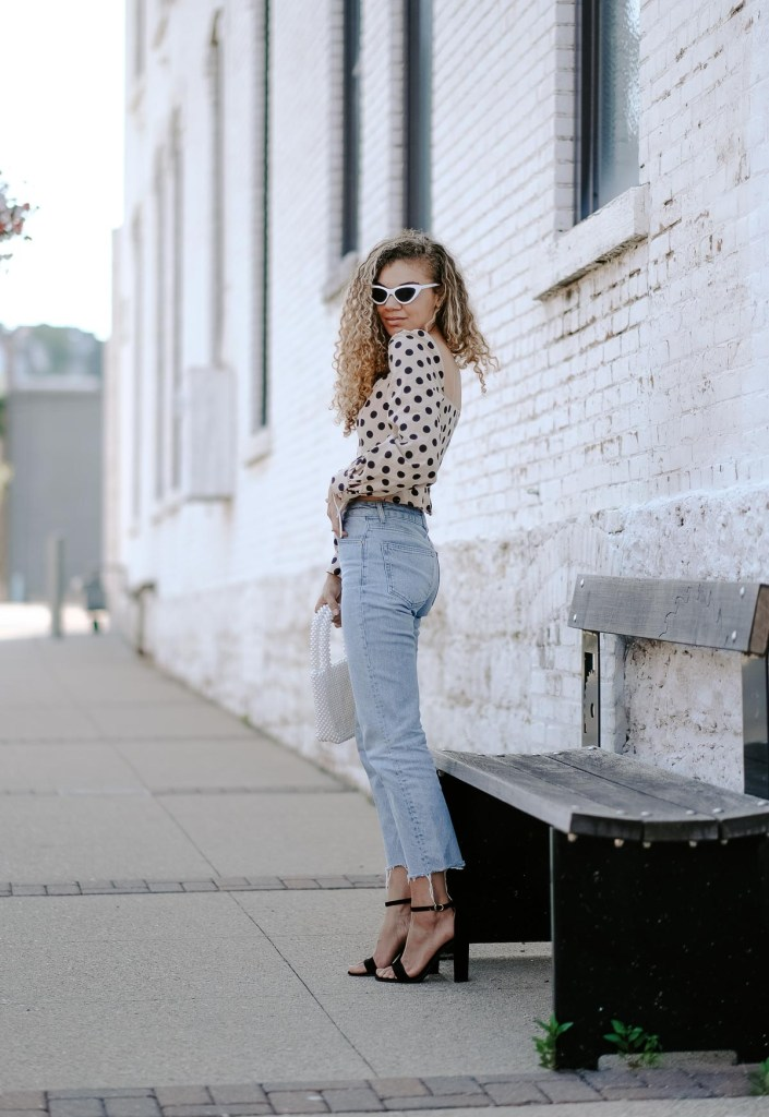 straight leg jeans and polka dot top