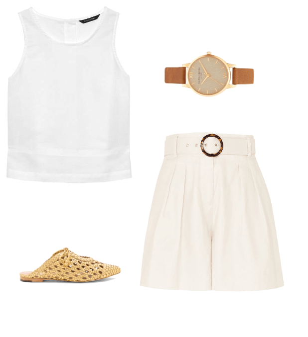 linen shorts classic summer outfit idea